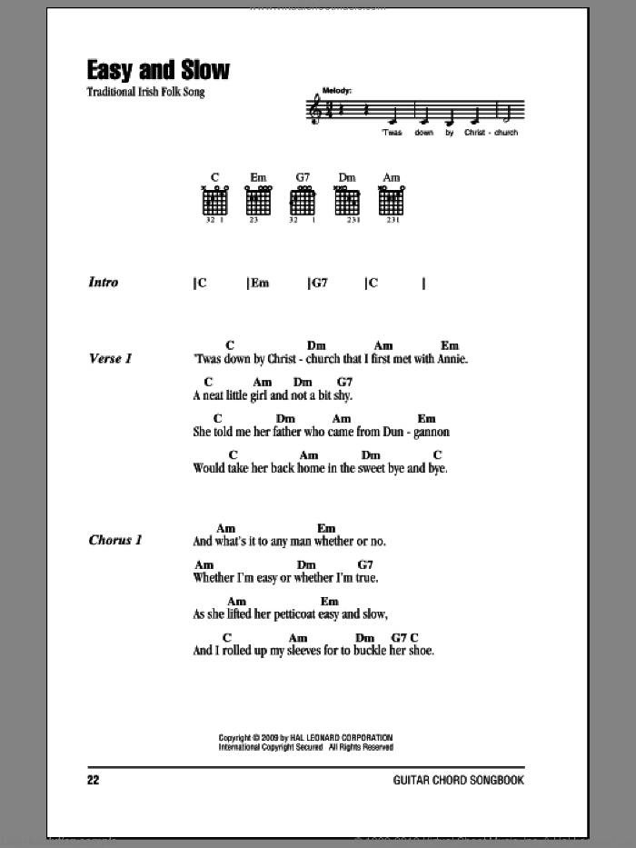 Easy And Slow sheet music for guitar (chords)
