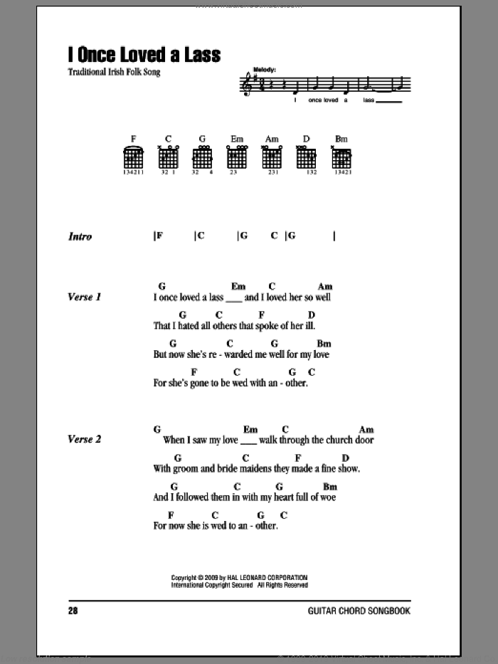 I Once Loved A Lass sheet music for guitar (chords). Score Image Preview.
