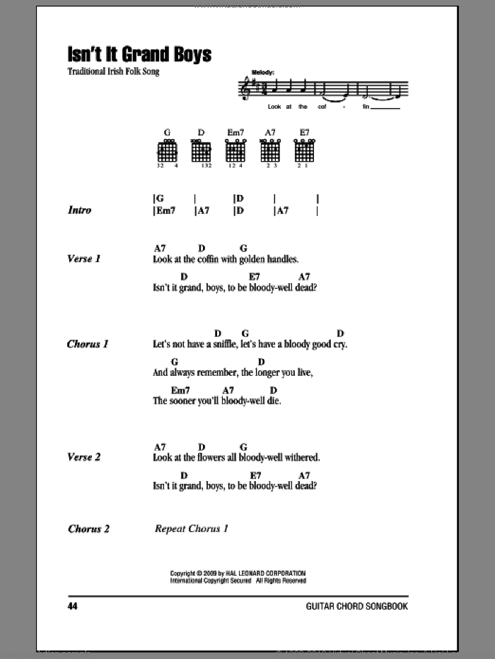 Isn't It Grand Boys sheet music for guitar (chords). Score Image Preview.