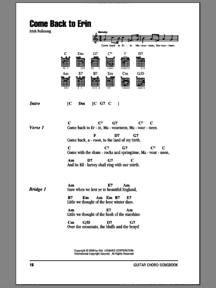 Come Back To Erin sheet music for guitar (chords)