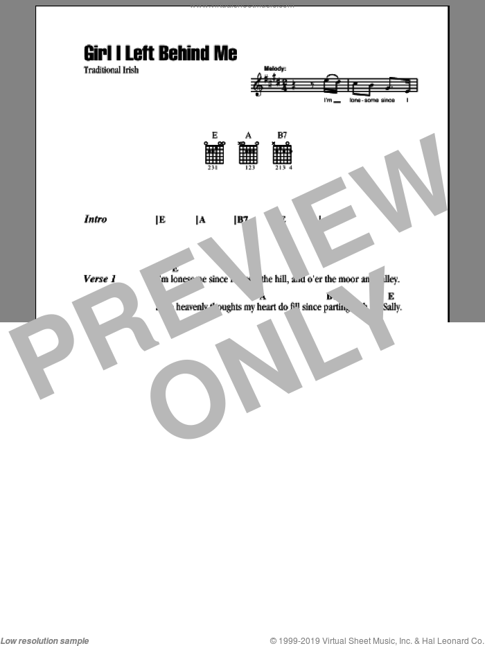 Girl I Left Behind Me sheet music for guitar (chords), intermediate skill level