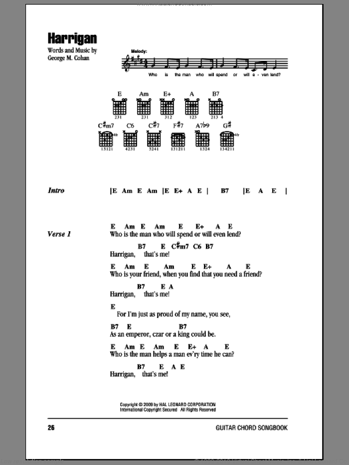 Harrigan sheet music for guitar (chords) by George M. Cohan and George Cohan. Score Image Preview.