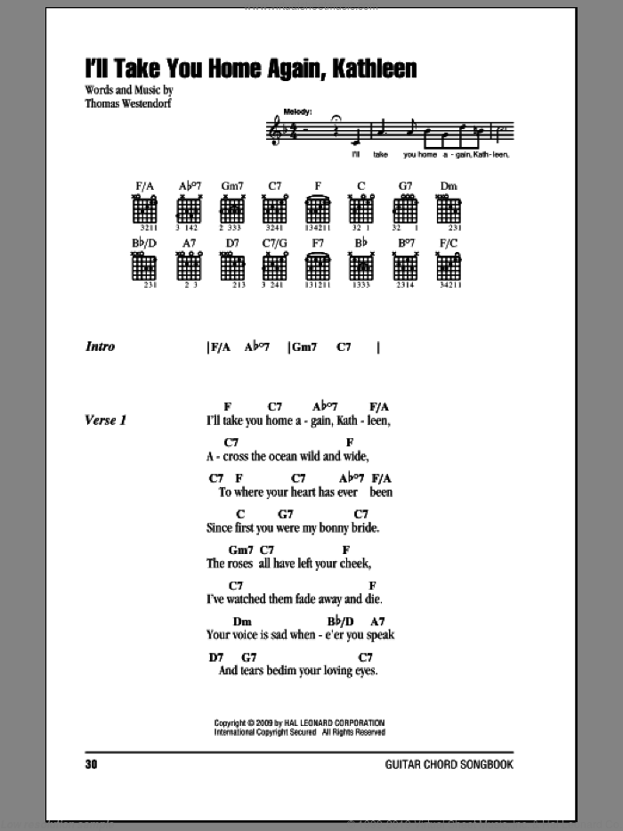 I'll Take You Home Again, Kathleen sheet music for guitar (chords) by Thomas Westendorf