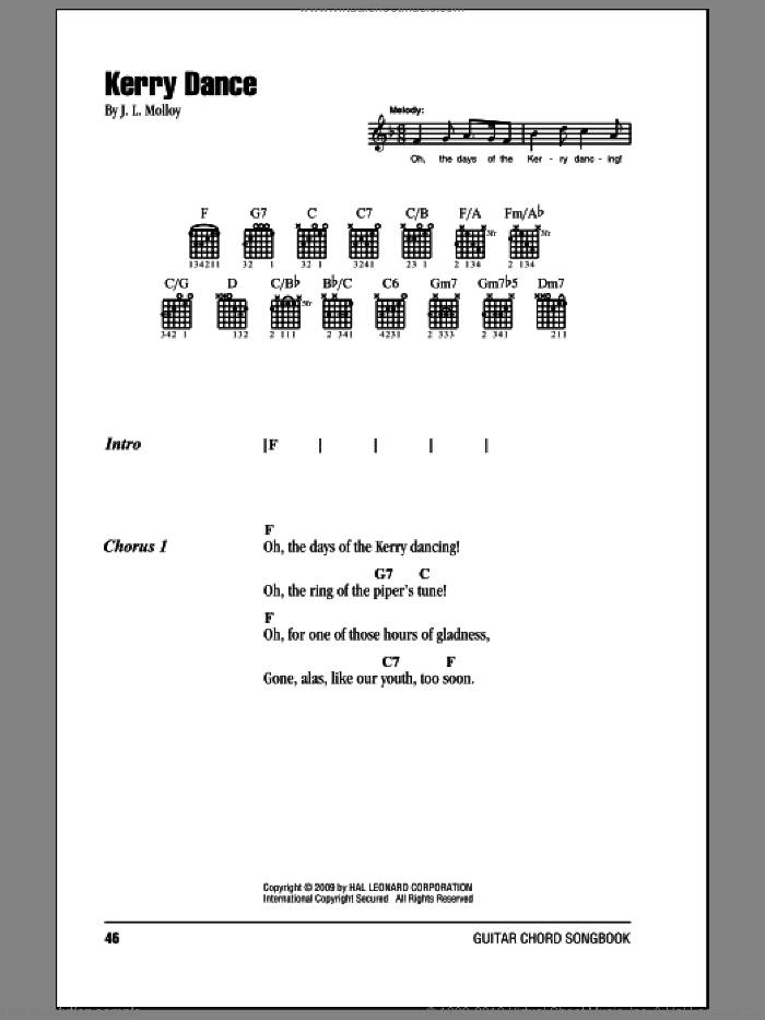 Kerry Dance sheet music for guitar (chords) by James Molloy, intermediate