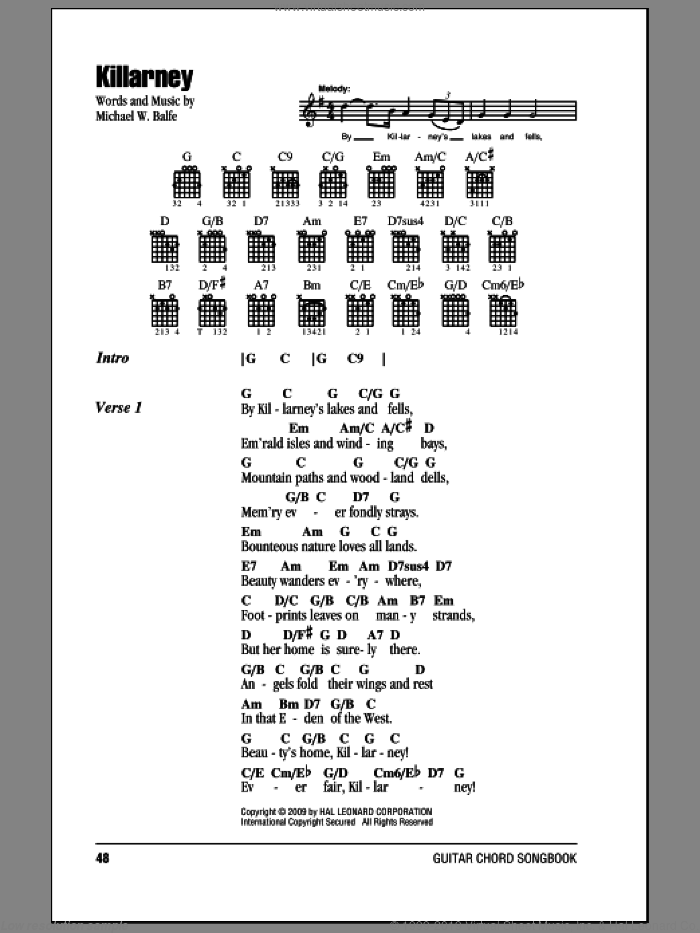 Killarney sheet music for guitar (chords) by Michael W. Balfe. Score Image Preview.