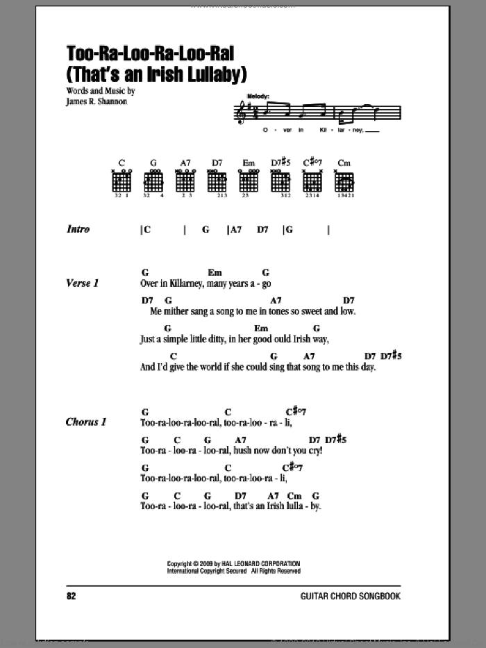 Too-Ra-Loo-Ra-Loo-Ral (That's An Irish Lullaby) sheet music for guitar (chords) by James R. Shannon, intermediate skill level