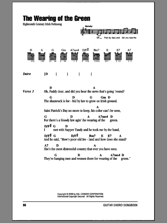 The Wearing Of The Green sheet music for guitar (chords), intermediate. Score Image Preview.