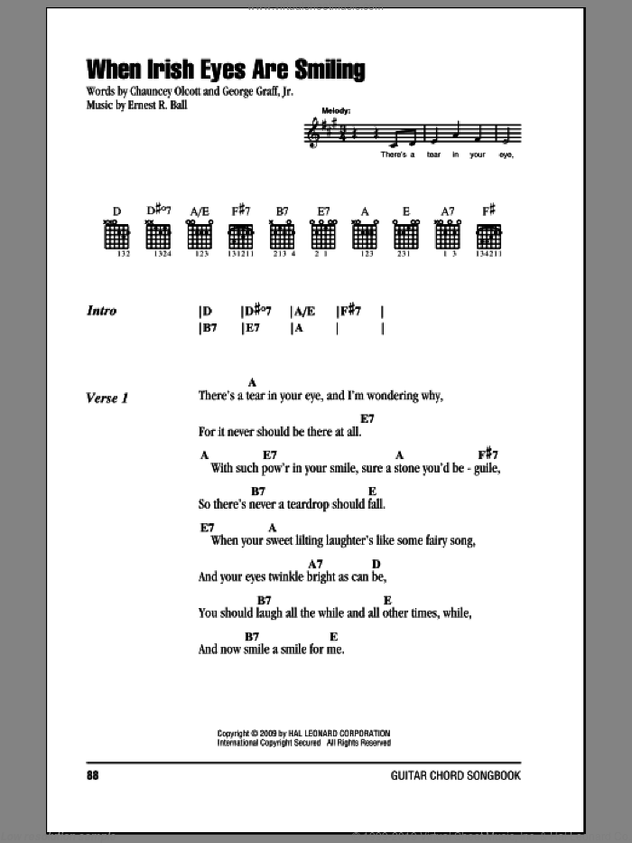 When Irish Eyes Are Smiling sheet music for guitar (chords) by George Graff Jr., Chauncey Olcott and Ernest R. Ball. Score Image Preview.