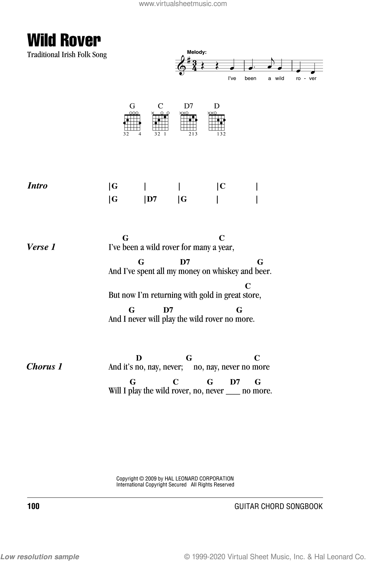 Wild Rover sheet music for guitar (chords), intermediate guitar (chords). Score Image Preview.