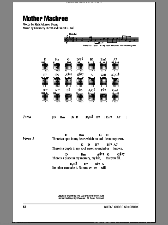 Mother Machree sheet music for guitar (chords) by Rida Johnson Young, Chauncey Olcott and Ernest R. Ball. Score Image Preview.