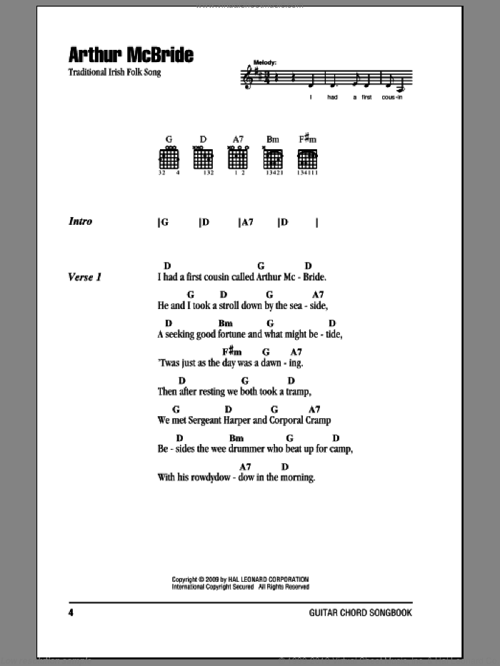 Arthur McBride sheet music for guitar (chords), intermediate skill level