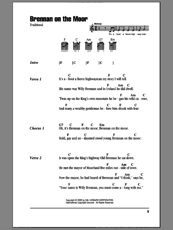 Brennan On The Moor sheet music for guitar (chords), intermediate. Score Image Preview.