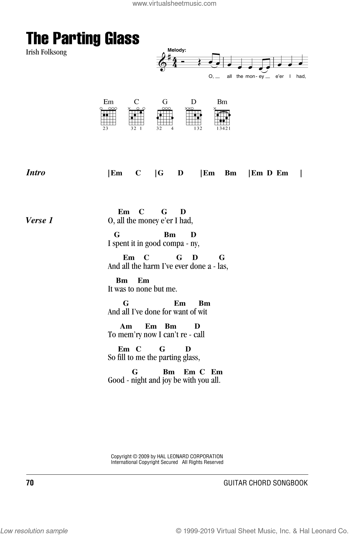 The Parting Glass sheet music for guitar (chords), intermediate skill level