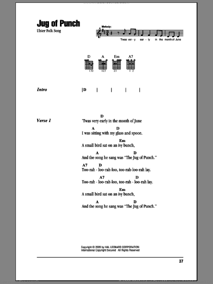 Jug Of Punch sheet music for guitar (chords, lyrics, melody)