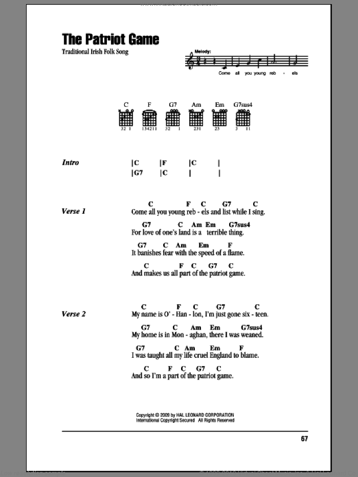 The Patriot Game sheet music for guitar (chords) [PDF]