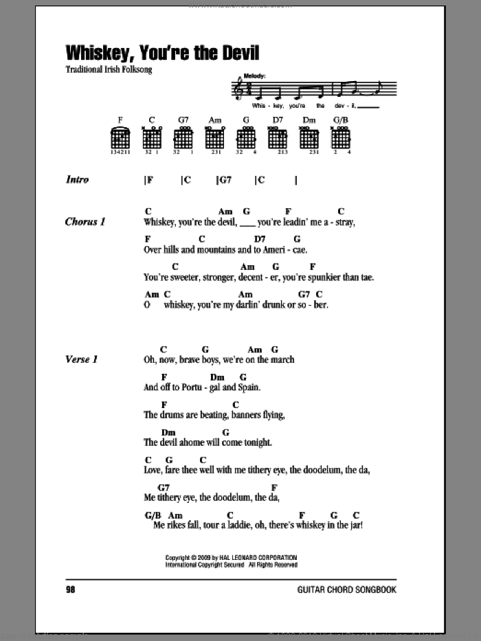Whiskey, You're The Devil sheet music for guitar (chords), intermediate skill level