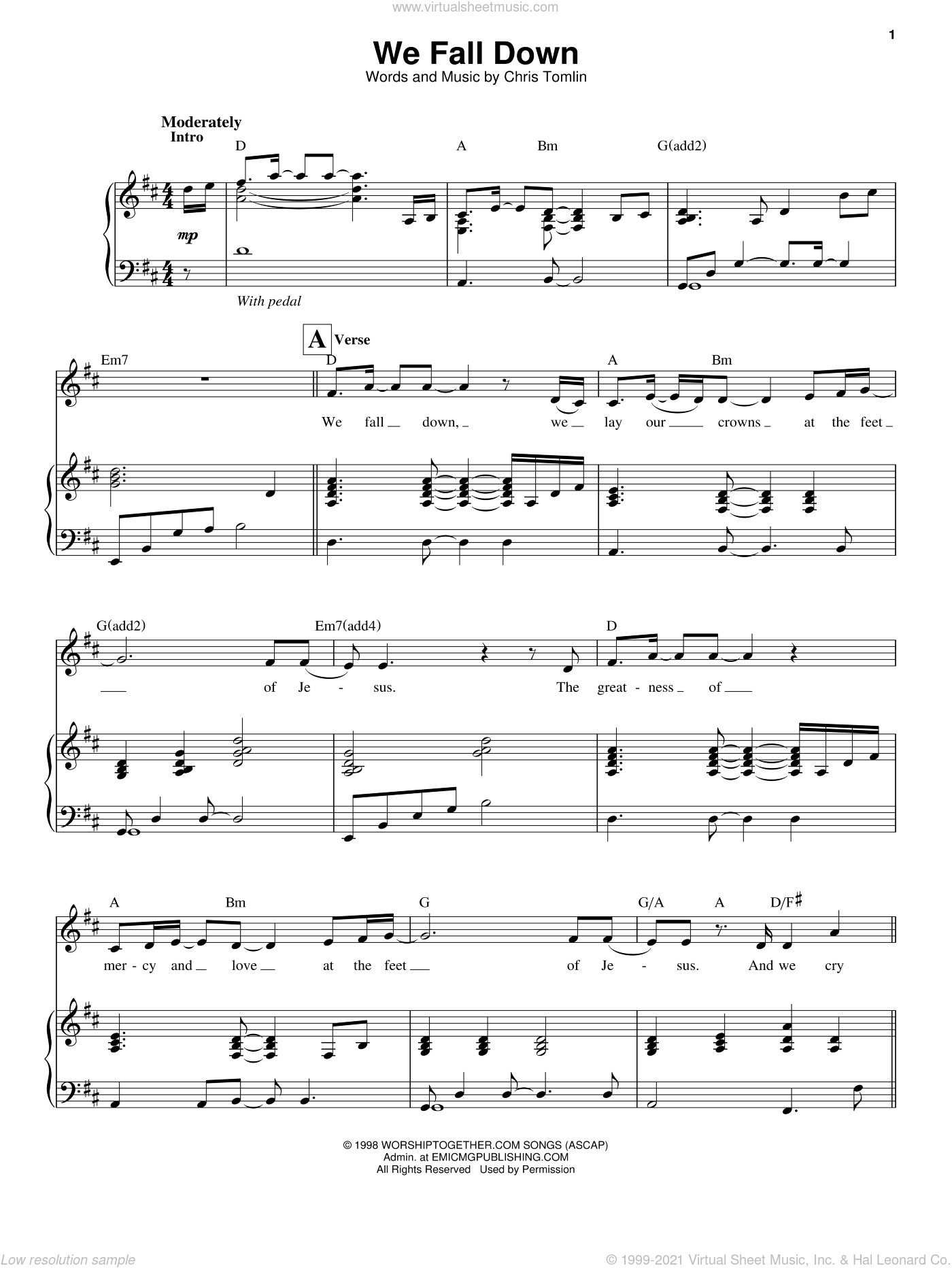 We Fall Down sheet music for voice and piano by Chris Tomlin and Kutless, intermediate skill level