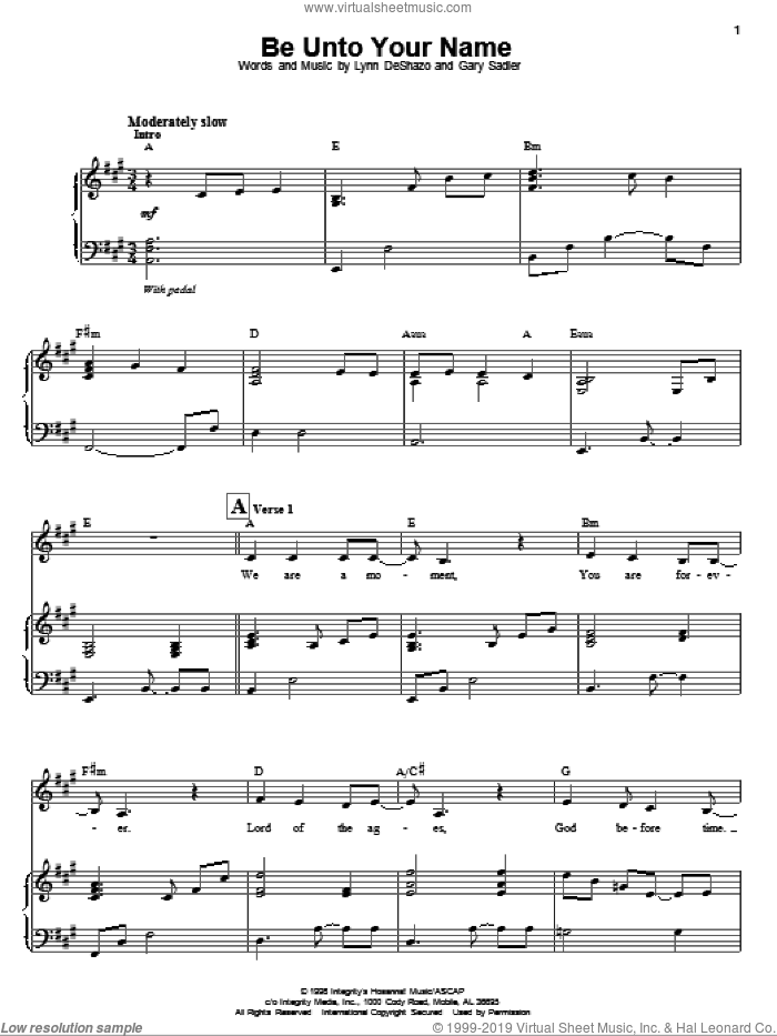 Be Unto Your Name sheet music for voice and piano by Lynn DeShazo, Robin Mark and Gary Sadler. Score Image Preview.