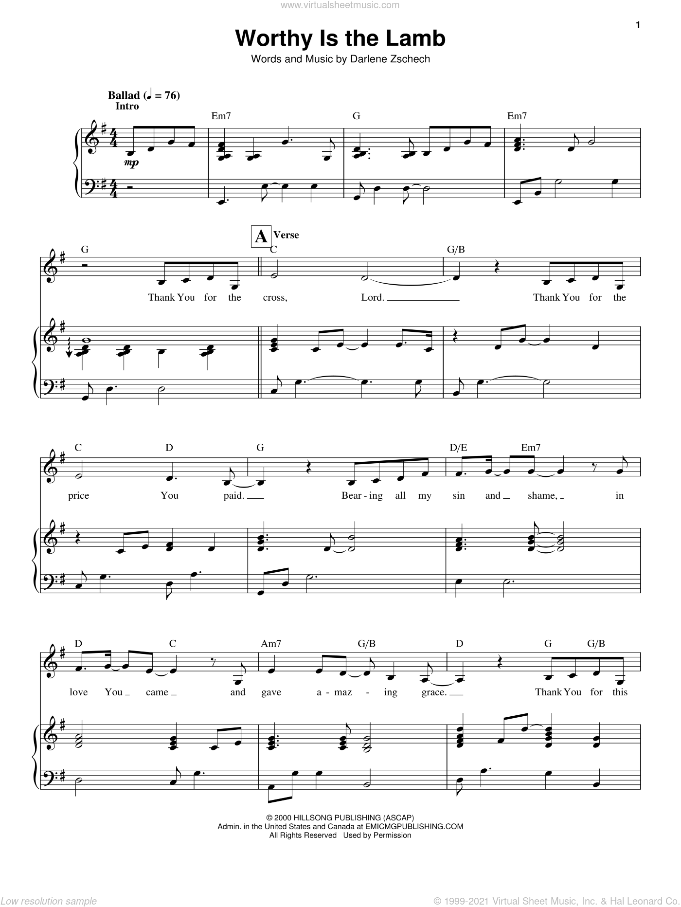 Worthy Is The Lamb sheet music for voice and piano by Darlene Zschech, intermediate. Score Image Preview.