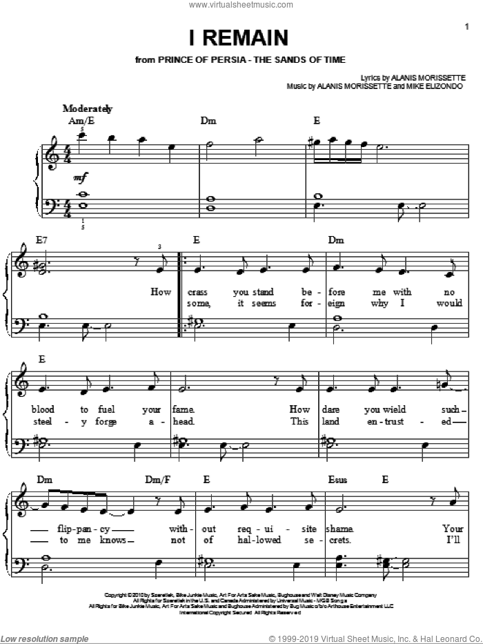 I Remain sheet music for piano solo by Alanis Morissette, Prince Of Persia (Movie) and Mike Elizondo, easy skill level