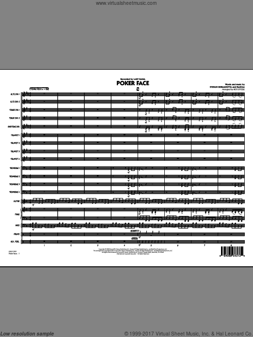 Poker Face (COMPLETE) sheet music for jazz band by Lady Gaga, RedOne and Rick Stitzel, intermediate. Score Image Preview.