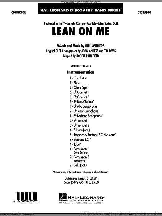 Lean On Me (COMPLETE) sheet music for concert band by Robert Longfield