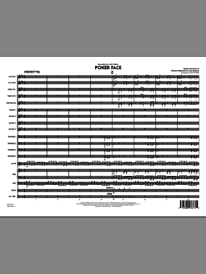 Poker Face (COMPLETE) sheet music for jazz band by Lady Gaga and Rick Stitzel, intermediate jazz band. Score Image Preview.