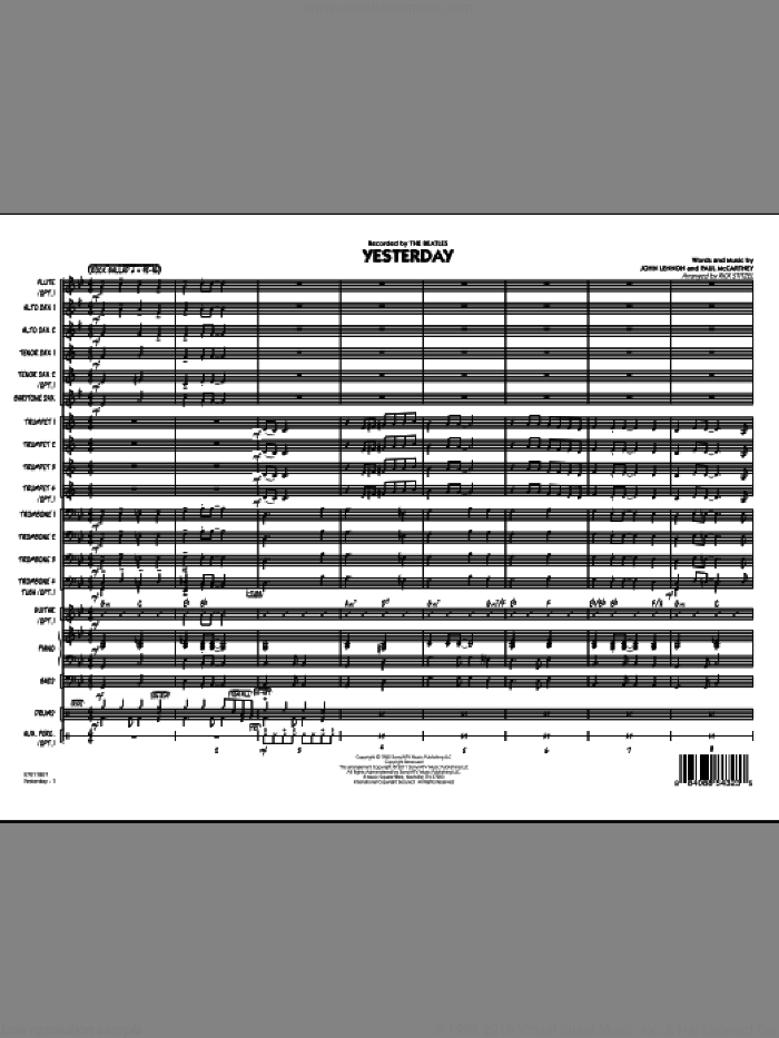 Yesterday (COMPLETE) sheet music for jazz band by John Lennon, Paul McCartney, Rick Stitzel and The Beatles, intermediate jazz band. Score Image Preview.