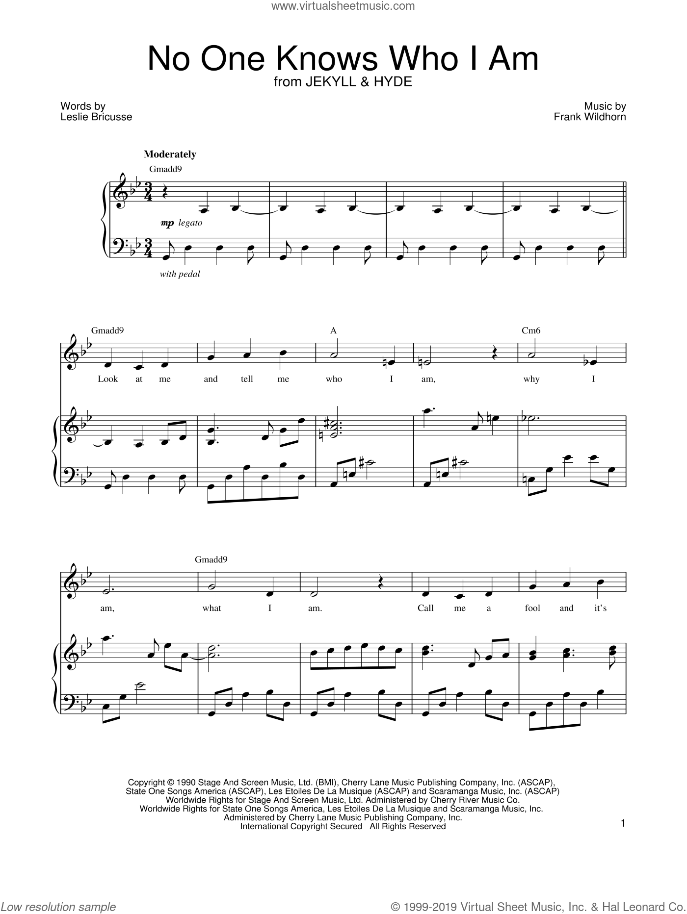 No One Knows Who I Am sheet music for voice and piano by Leslie Bricusse, Jekyll & Hyde (Musical) and Frank Wildhorn, intermediate skill level