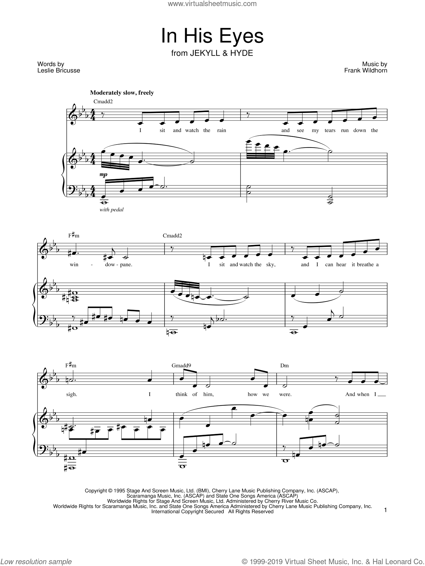 In His Eyes sheet music for voice and piano by Leslie Bricusse, Jekyll & Hyde (Musical) and Frank Wildhorn, intermediate. Score Image Preview.