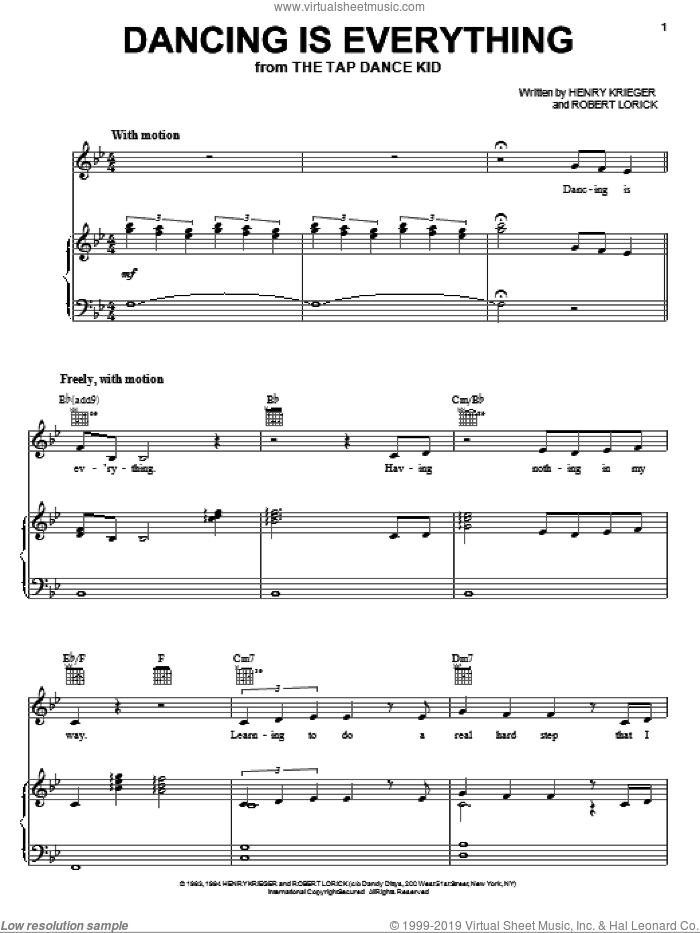 Dancing Is Everything sheet music for voice, piano or guitar by Henry Krieger. Score Image Preview.