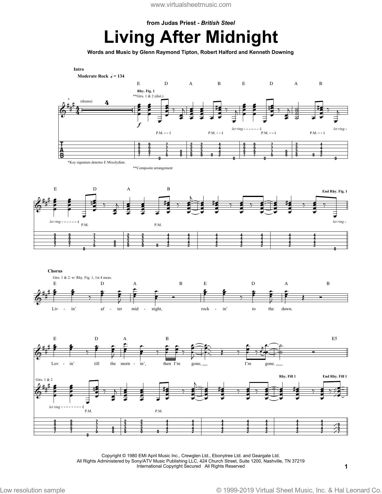 Living After Midnight sheet music for guitar (tablature) by Judas Priest, Glenn Tipton, K.K. Downing and Rob Halford, intermediate skill level