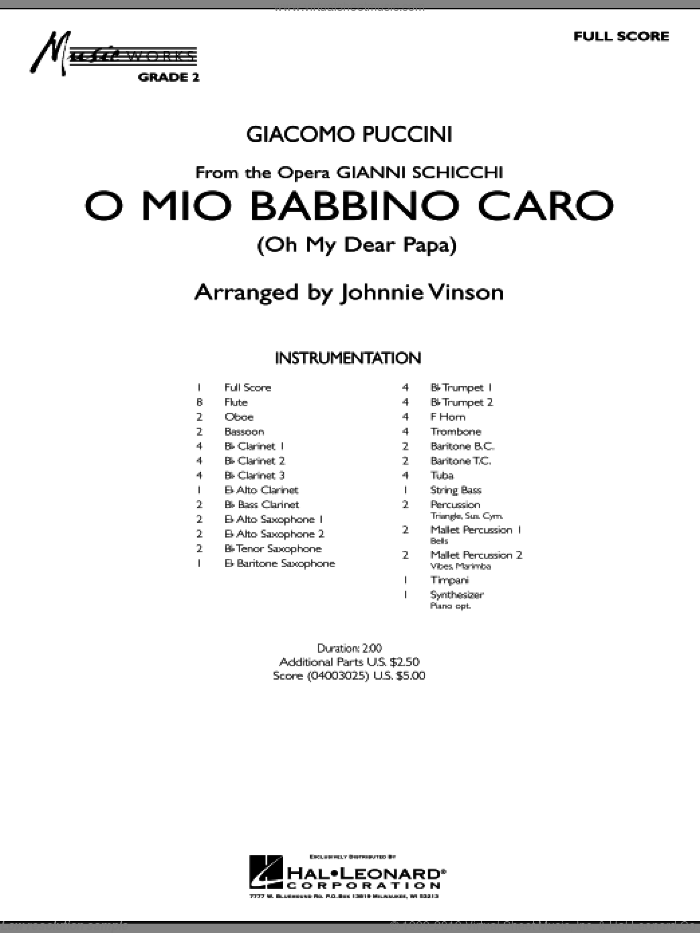 O Mio Babbino Caro (COMPLETE) sheet music for concert band by Giacomo Puccini and Johnnie Vinson, intermediate concert band. Score Image Preview.