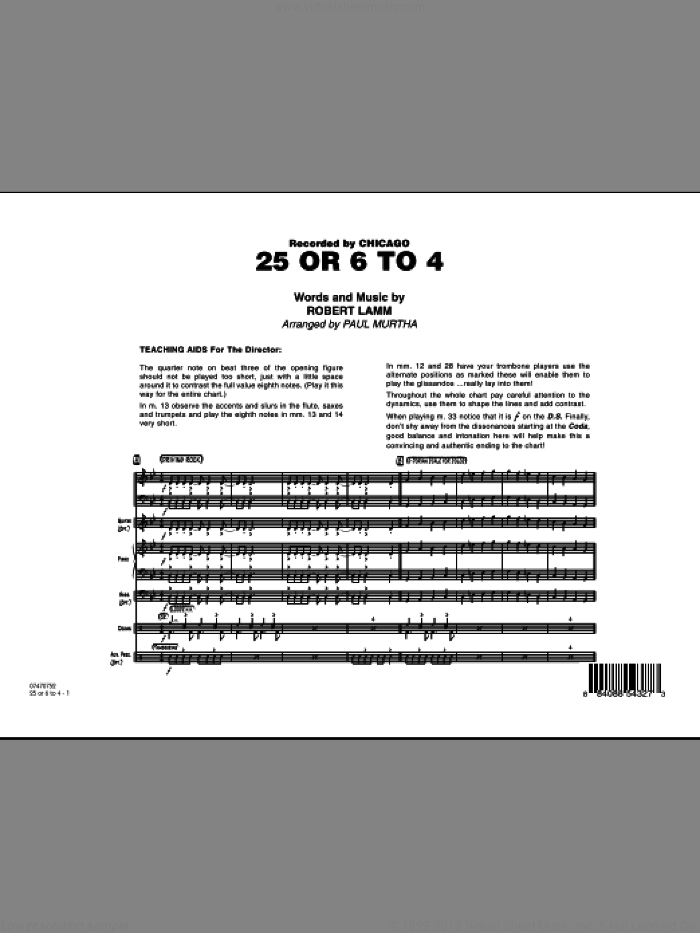25 Or 6 To 4 (COMPLETE) sheet music for jazz band by Paul Murtha, Robert Lamm and Chicago, intermediate skill level