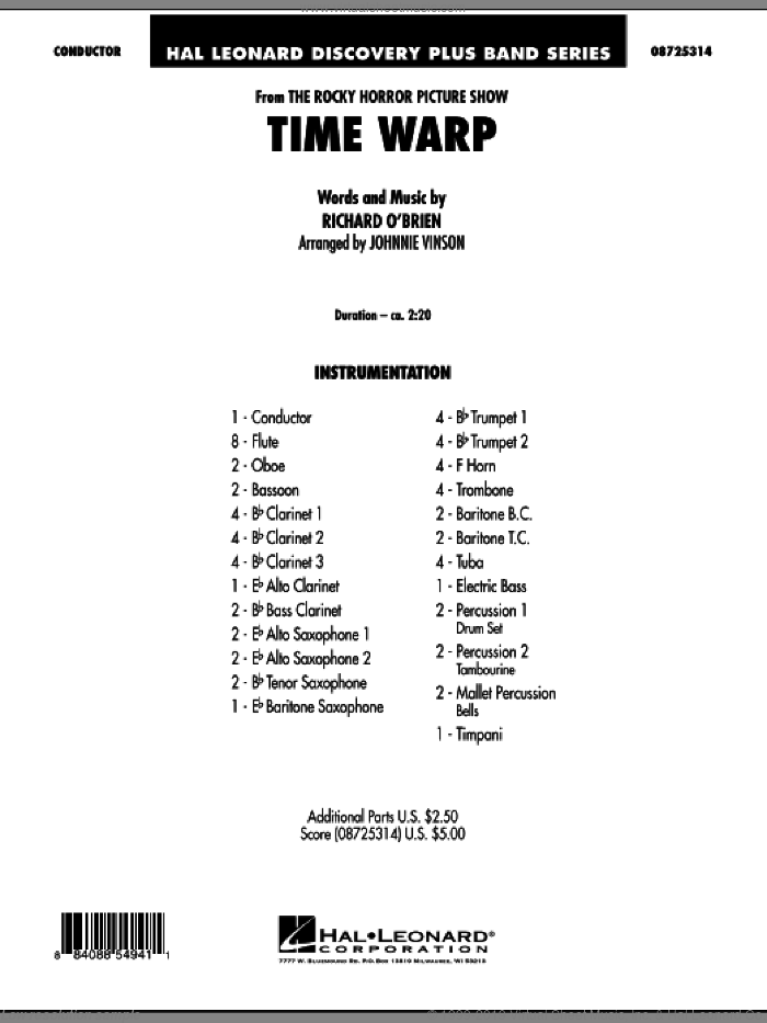 Time Warp (from 'The Rocky Horror Picture Show') (COMPLETE) sheet music for concert band by Johnnie Vinson, intermediate skill level
