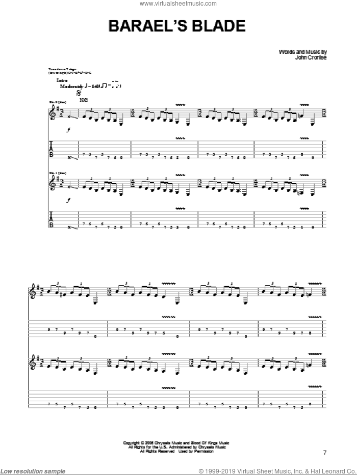 Barael's Blade sheet music for guitar (tablature) by The Sword and John Cronise, intermediate