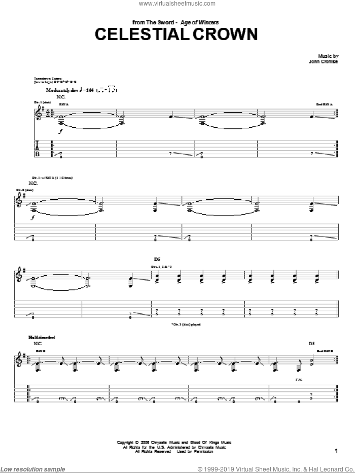 Celestial Crown sheet music for guitar (tablature) by The Sword. Score Image Preview.