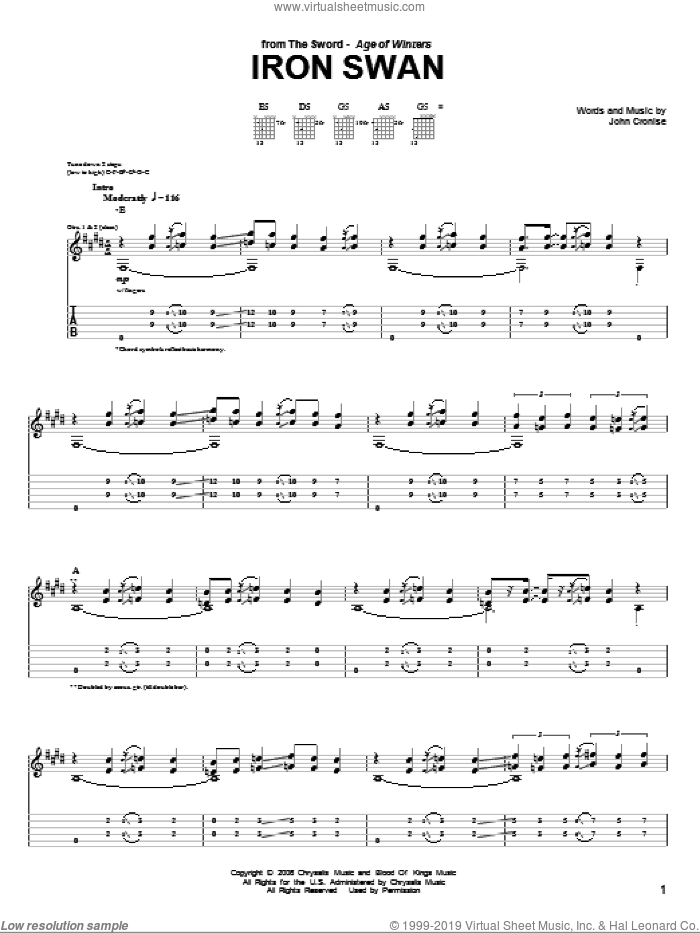 Iron Swan sheet music for guitar (tablature) by John Cronise. Score Image Preview.