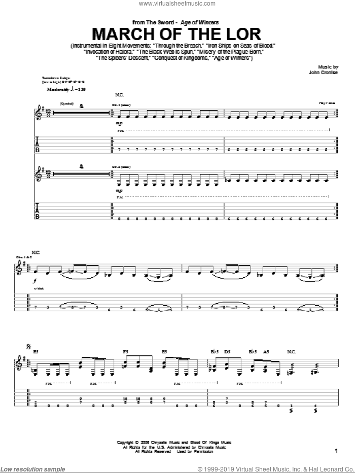 March Of The Lor sheet music for guitar (tablature) by The Sword, intermediate. Score Image Preview.