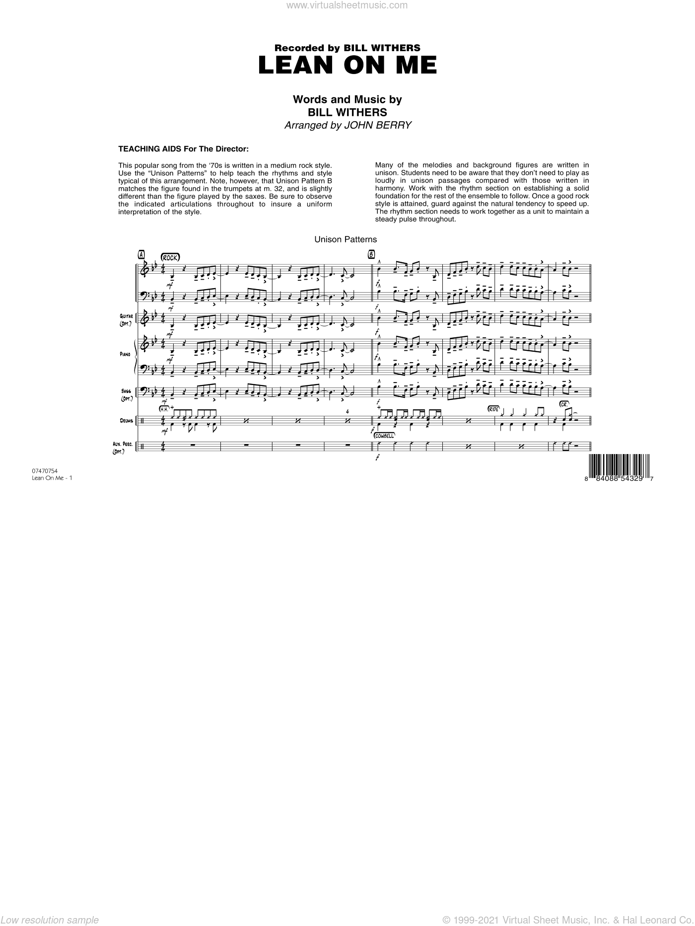 Lean On Me sheet music for jazz band (full score) by John Berry