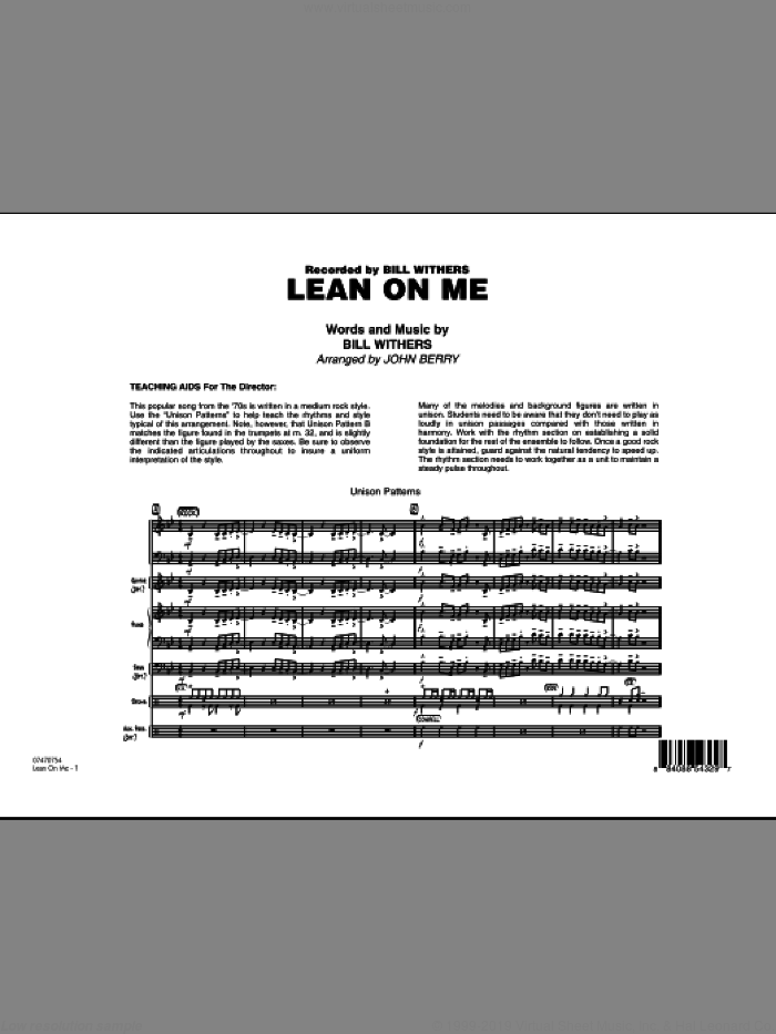 Lean On Me (COMPLETE) sheet music for jazz band by Bill Withers and John Berry, intermediate skill level