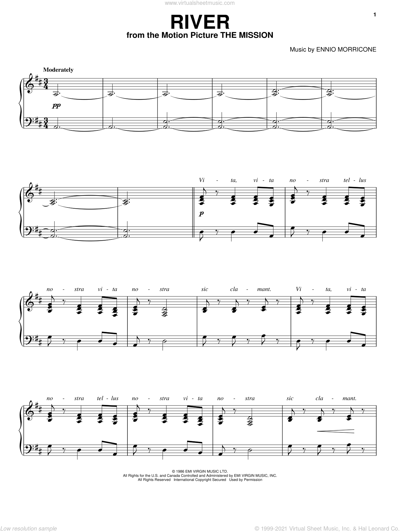 River sheet music for voice, piano or guitar by Ennio Morricone, intermediate skill level