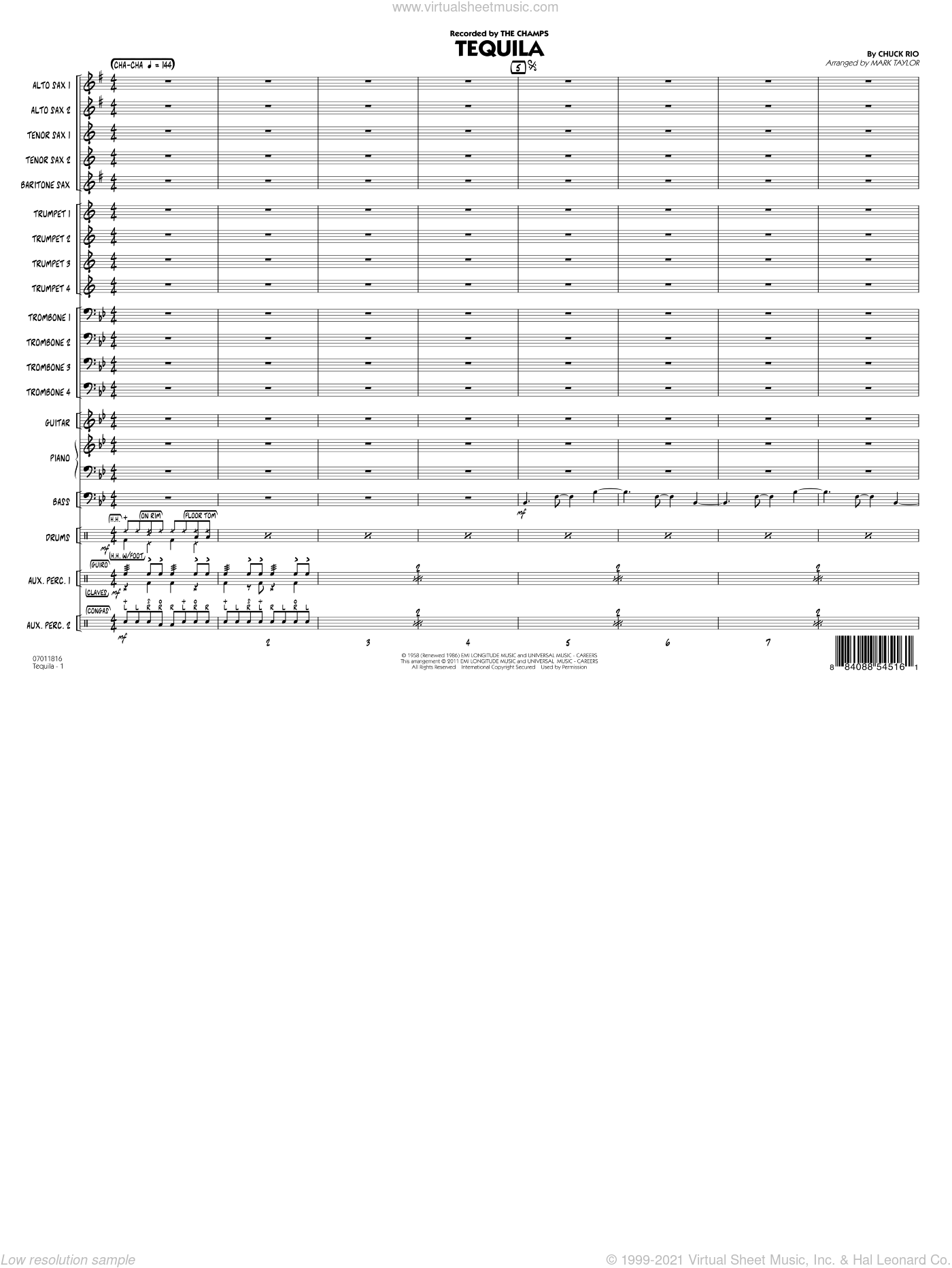 Tequila sheet music for jazz band (full score) by Chuck Rio
