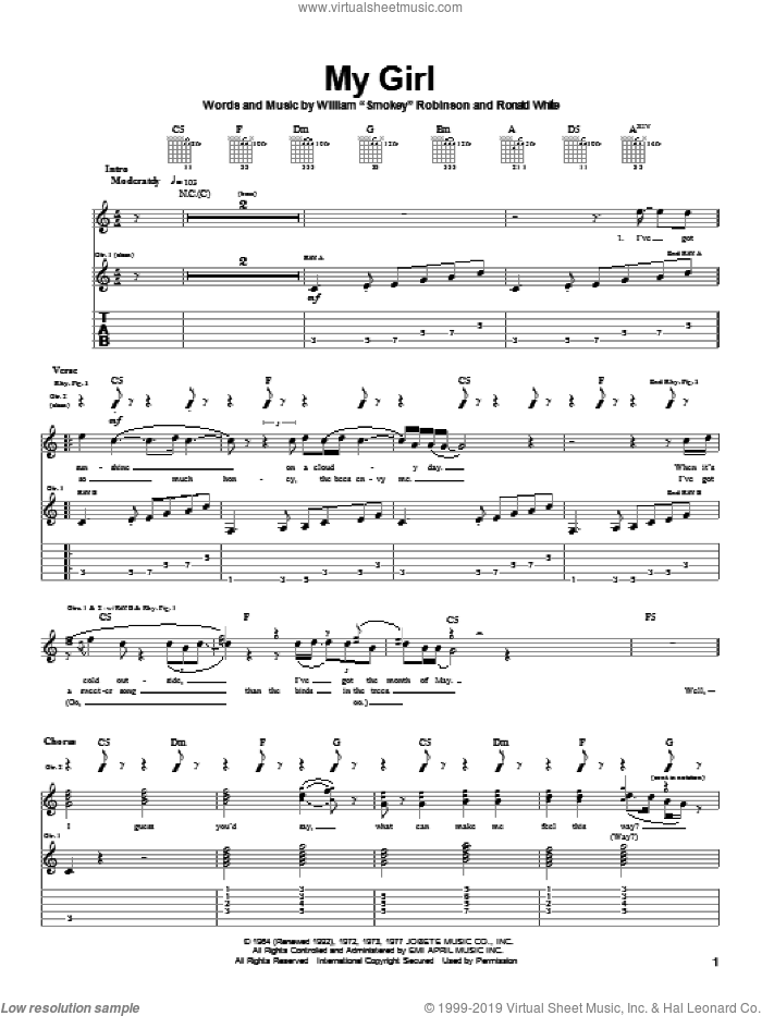 My Girl sheet music for guitar (tablature) by The Temptations. Score Image Preview.