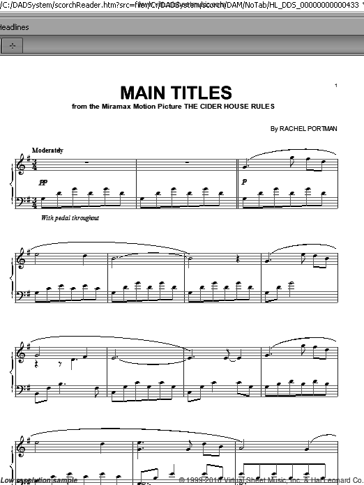 Main Titles from The Cider House Rules sheet music for piano solo by Rachel Portman. Score Image Preview.