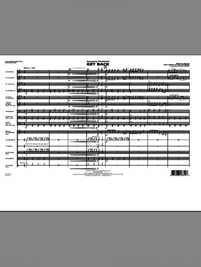 Get Back (COMPLETE) sheet music for marching band by John Lennon, Paul McCartney, Michael Brown and The Beatles, intermediate