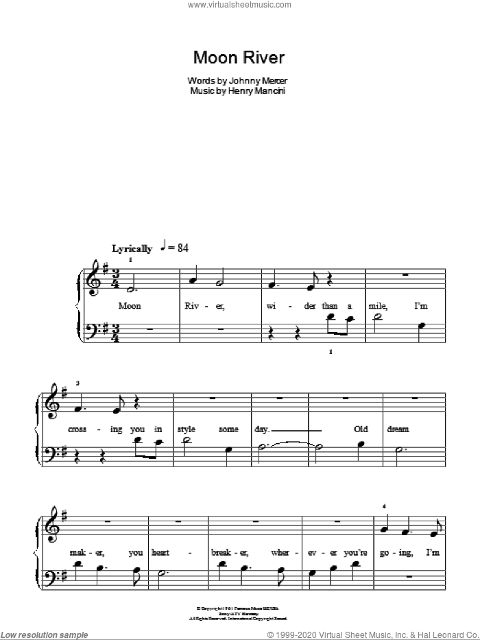 Moon River, (easy) sheet music for piano solo by Henry Mancini and Johnny Mercer, easy skill level