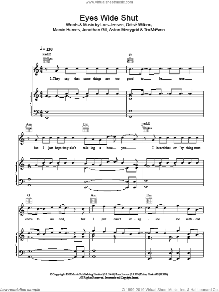Eyes Wide Shut sheet music for voice, piano or guitar by JLS, intermediate. Score Image Preview.