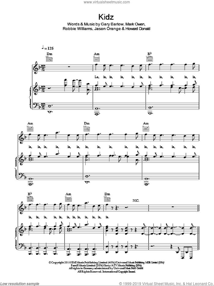 Kidz sheet music for voice, piano or guitar by Take That, Gary Barlow, Howard Donald, Jason Orange, Mark Owen and Robbie Williams, intermediate skill level