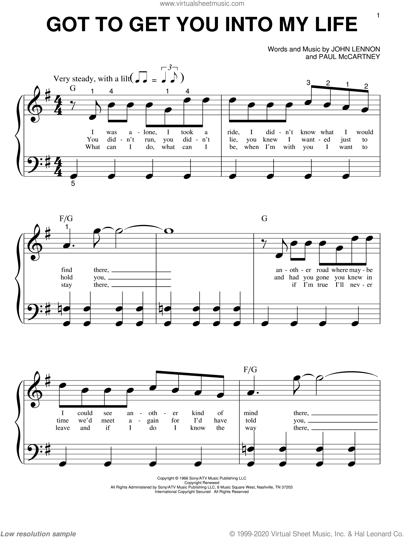 Got To Get You Into My Life sheet music for piano solo (big note book) by The Beatles, John Lennon and Paul McCartney, easy piano (big note book)